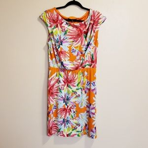 Tiana B. bright Floral orange Sleeveless Dress